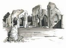 Эскиз аббатства Creake, Норфолка, Великобритании Стоковое Изображение RF