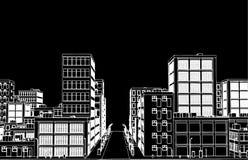 Эскиз белой улицы на черном векторе backgound Стоковые Изображения