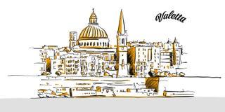 Эскиз Валлетты, Мальты иллюстрация штока