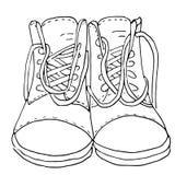 Эскиз вектора ботинок 2 ботинка со шнурками на черно-белом Иллюстрация притяжки руки изолированная на белой предпосылке иллюстрация вектора