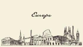 Эскиз вектора горизонта Европы нарисованный иллюстрацией Стоковое Изображение