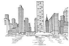 Эскиз вектора горизонта Нью-Йорка бесплатная иллюстрация