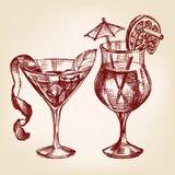 Эскиз вектора коктеиля установленной нарисованный рукой Стоковая Фотография