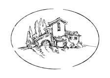 Эскиз вектора ландшафта лета Стоковая Фотография