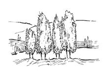 Эскиз вектора ландшафта лета Стоковые Фото