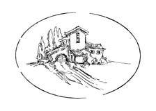 Эскиз вектора ландшафта лета Стоковая Фотография RF