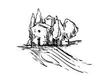 Эскиз вектора ландшафта лета Стоковое Фото