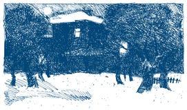 Эскиз вектора Отец и ребенок идя на вечер зимы стоковое изображение