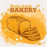 Эскиз вектора свежего хлеба Бесплатная Иллюстрация