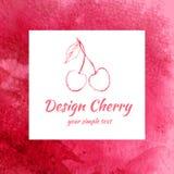 Эскиз вишни изолированный на белой предпосылке, линии искусстве, текстуре акварели красной, ягоде для упаковки, плодоовощ дизайна иллюстрация штока
