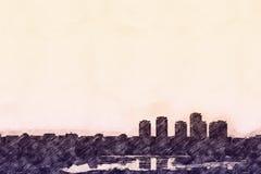 Эскиз горизонта города бесплатная иллюстрация