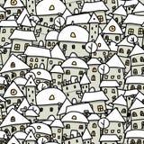 Эскиз города зимы, безшовная картина для вашего Стоковое Фото