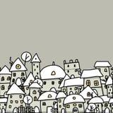 Эскиз города зимы, безшовная картина для вашего Стоковое Изображение RF