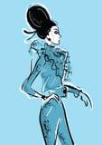 Эскиз графического чертежа с женщиной Стоковая Фотография