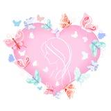 Эскиз девушки в сердце с бабочками Стоковые Фотографии RF