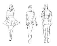 ЭСКИЗ. девушки моды Стоковые Изображения