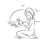 Эскиз девушки с яблоком в природе Стоковые Изображения