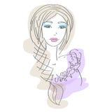 эскиз девушки иллюстрация вектора