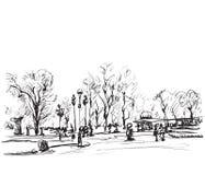 Эскиз деревьев Ландшафт зимы Doodles Стоковые Изображения RF