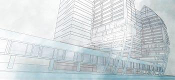 Эскиз делового центра. Стоковое фото RF