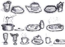 эскиз еды Стоковое Изображение