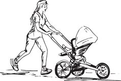 Эскиз женщины бежать с багги Стоковое Фото