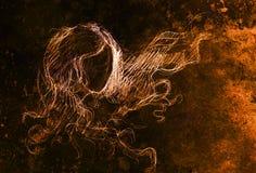 Эскиз женщины и порхая волос Чертеж карандаша на старой бумаге Влияние цвета Стоковое Изображение RF