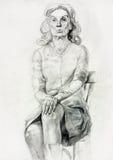 Эскиз женщины сидя иллюстрация вектора