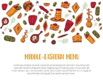 Эскиз знамени меню современного эскиза ближневосточный с Kebab, Dolma, Shakshuka, shisha Freehand изолированные doodles вектора иллюстрация вектора