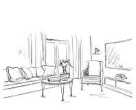 Эскиз интерьера комнаты Софа и мебель нарисованные рукой Стоковые Изображения RF