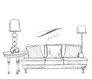 Эскиз интерьера комнаты Софа нарисованная рукой Стоковая Фотография