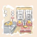 Эскиз интерьера комнаты Стоковое фото RF