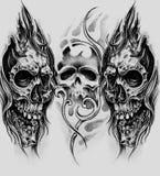 Эскиз искусства татуировки, черепов иллюстрация вектора