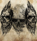 Эскиз искусства татуировки, черепов Стоковое Изображение