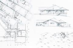 Эскиз и светокопии плана дома Стоковые Фото