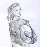 Эскиз карандаша девушки велосипедиста Стоковое фото RF