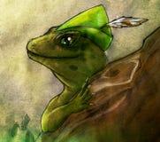 Эскиз карандаша леса покрашенный ящерицей Стоковая Фотография