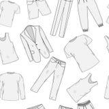 Эскиз картины одежды установленный безшовный Одежды людей, стиль рук-чертежа Одежда людей, предпосылка одевает людей s иллюстрация вектора