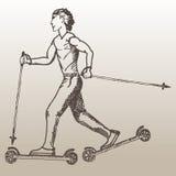 Эскиз катания на лыжах ролика человека Катание на лыжах ролика Гая на русой предпосылке Стоковые Фото