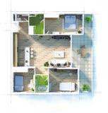 Эскиз квартиры плана здания Стоковые Фотографии RF