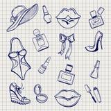 Эскиз комплекта элементов моды девушек иллюстрация штока