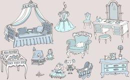 Эскиз, комплект мебели и игрушки для цвета сини комнаты девушек Стоковое Изображение
