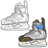 Эскиз коньков хоккея Коньки для того чтобы сыграть хоккей на льде, иллюстрации вектора Стоковое Изображение