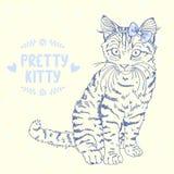 Эскиз котенка с смычком Стоковые Изображения RF