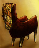 Эскиз кресла и шотландки Стоковое Изображение