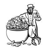 Эскиз лепрекона держа кружку пива полагаясь на баке вполне монеток st плаката patricks дня вычерченный вектор руки бесплатная иллюстрация