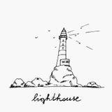 Эскиз маяка нарисованный рукой Стоковые Фото