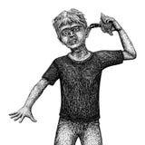 Эскиз мальчика раковины Стоковое Изображение RF