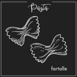 Эскиз мела Farfalle макаронных изделий для итальянского меню кухни или комплексное конструирование на черной предпосылке Стоковое Изображение RF