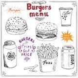 Эскиз меню бургера нарисованный рукой Плакат фаст-фуда с гамбургером, cheeseburger, ручками картошки, чонсервной банкой соды, кру Стоковое фото RF
